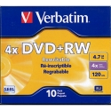 Verbatim DVD+RW 4.7GB Branded in JC 4X, 10/PK (94839)