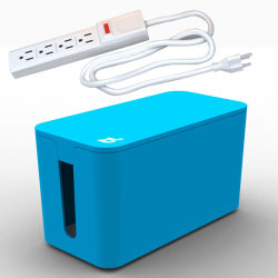Bluelounge CableBox Mini with Powersurge - Blue