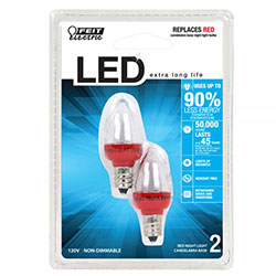Feit Night Light Bulb, Red, Candelabra Base, 2/PK (BPC7/R/LED)
