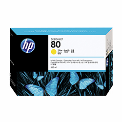 HP Yellow #80 Ink Cart. 350ML 4.4K D Size (C4848A)