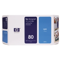 HP Cyan #80 Ink Cart. 175ML 2,200 D Size(C4872A)