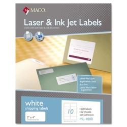 "Maco 2"" X 4"" Laser Label 1000/BX (ML-1000)"