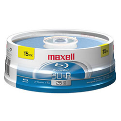 Maxell Blu-ray BD-R 1-4X, 25GB, Branded, 15/SP (631012)