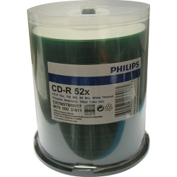 Philips CD-R 700MB 52X 100/Spin TH Hub PR White (CR7M5TB00/17)