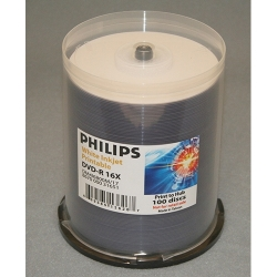 Philips DVD-R 4.7GB 16X, 100/Spin IJ Hub PR White (DM4I6B00M/17)
