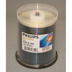 Philips DVD-R 4.7GB 16X 100/Spin Shiny Silver Top (DM4Y6B00M/17)