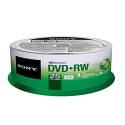 Sony DVD+RW 4.7GB, Branded, 4X, 25/SP (25DPW47SPM)