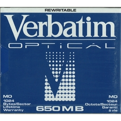 "Verbatim 5.25"" RW Optical 650MB 1024B/S (87896)"
