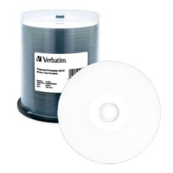Verbatim CD-R 80 Min, 700MB 52X 100/Spin TH Hub PR White (95254)