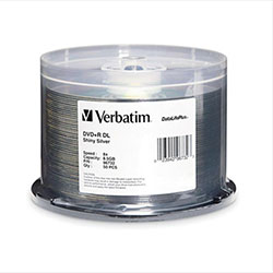 Verbatim DVD+R DL 8.5GB, Shiny Silver Top, 8X, 50/SP (96732)